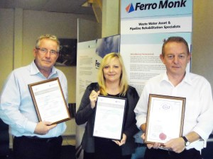 Danny Heffernan, managing director, Kay Cusworth, finance director and Cliff Belcher contracts manager, proudly displaying the UVDB Verify Achilles Certificate of Assessments and the CHAS Accreditation Certificate.
