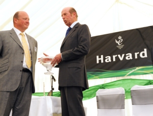 HRH The Duke of Kent, on the right, presents John McDonnell, managing director of Harvard Engineering, with the company's Queen's Award for Enterprise