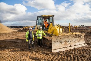 Clugston Construction workers on the site, from left to right – including Steve Waggett (middle) North East Regional Manager.