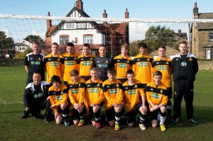 Ossett Albion's under 17 team sporting the shirts with Harvard's logo.