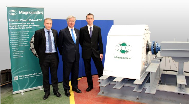 Chris Kirby managing director of Magnomatics, Michael Fallon UK Business Minister, David Black chief operations officer for Magnomatics, at the Magnomatics test facility in front of the 300kW magnetically geared propulsion motor rig.