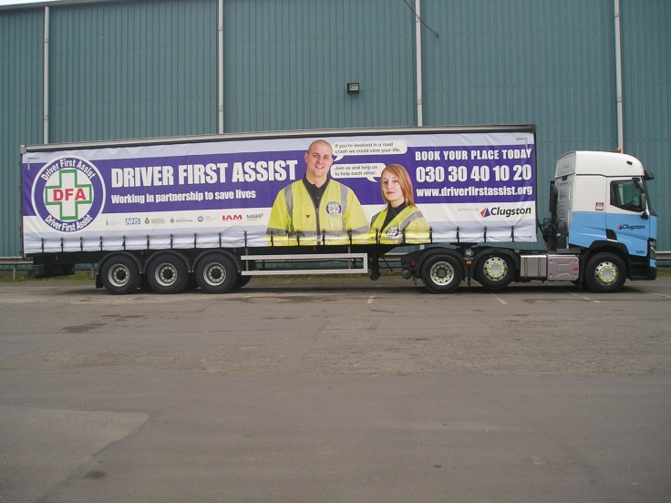 Clugston trailer with Driver First Assist message