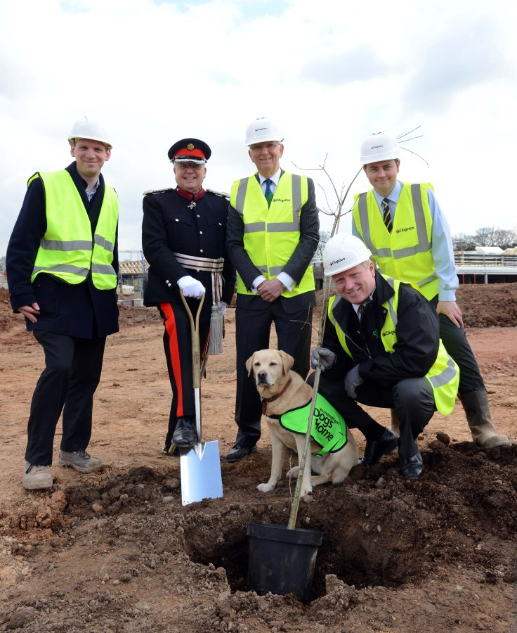 Left to right, Jonathan Davey, Associated Architects, Deputy Lord Lieutenant of the West Midlands, David Bradnock, MBE Richard Temple-Cox, Chairman of Trustees, Birmingham Dogs Home Richard Whitehead, project manager, Clugston Construction and Simon Price, chief executive Birmingham Dogs Home with Polly.