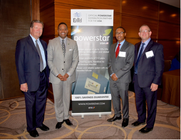 John Kovacs (EnTel), Calvin Butler, Jr. (BG&E CEO, Michael Hunter (EnTel CEO) and Martin Stevens (EMSc International Sales Director) at the Four Seasons Baltimore Hotel
