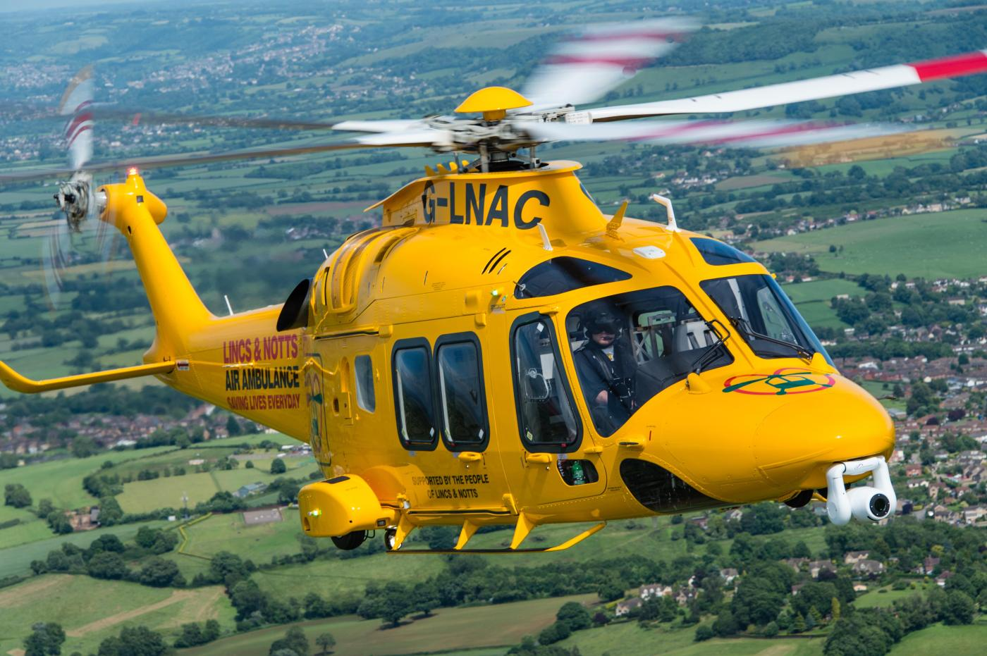 The Lincs & Notts Air Ambulance takes to the skies.